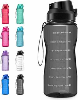 Motivational Water Bottle BPA Free 2.2L/64oz  Jug with Straw