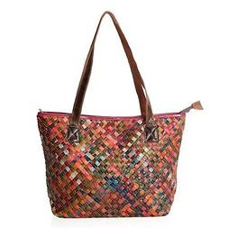 Multi Color Block Pattern Genuine Leather Tote Bag with Hand