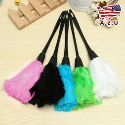 Multi-color Turkey Feather Duster with Black Plastic Handle