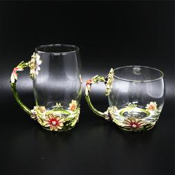 New Classical Enamel Luxury Glass Mugs with Handle, for Hot