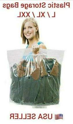 New Plastic STORAGE BAGS with Handle Zip Loc Clothes BIG BAG
