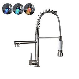 Pull Out Sprayer Kitchen Sink Faucet Single Handle Stainless