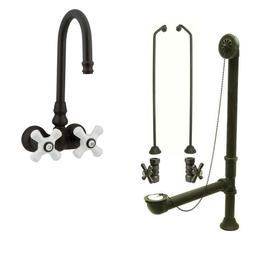 Oil Rubbed Bronze Wall Mount Clawfoot Bathtub Faucet Package