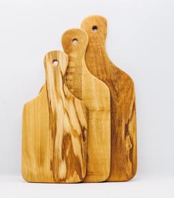 OLIVE WOOD CUTTING / SERVING BOARD WITH HANDLE Engrave Name/