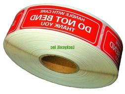 One Roll 1000 1 x 3 DO NOT BEND HANDLE WITH CARE Stickers La