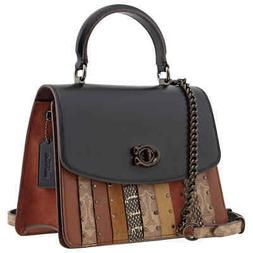 Coach Parker Top Handle with Patchwork Stripes And Snakeskin
