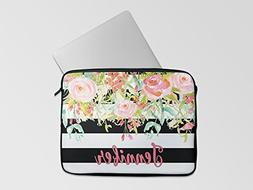 Personalized Laptop Neoprene Sleeve  - Black Stripe Floral