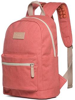 Kinmac Pink Color Canvas Small Size Laptop Backpack with Mas