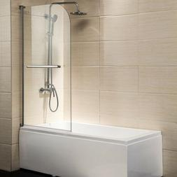 "55"" x 31"" Pivot Radius Frameless Bath Shower Door 1/4"" Clear"