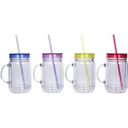 Zephyr Goods Plastic Mason Jars with Handles, Lids and Straw