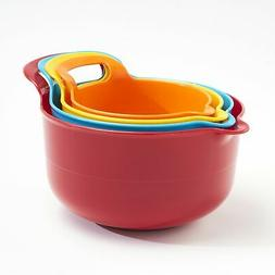 Plastic Nesting Kitchen Bowls with Large Grip Handles - Set