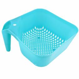 Plastic Square Colander with Handle Fine Mesh Food Strainer