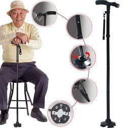 Adjustable Height Walking Cane Self Standing Folding with LE