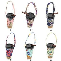 Portable Print Mug Cup Bottle Sleeve Carrying Pouch Bag with