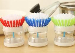 Pot/Dish Brush -3 Pcs Soap Dispensing Detergent Scrubber Kit