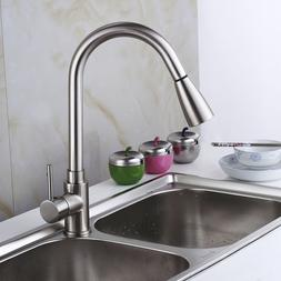 Pull Down Kitchen Faucet Single Handle Pull Out Sprayer Swiv