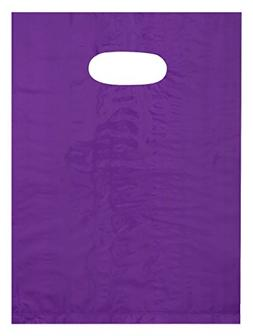 9x12 Purple Die Cut Handle Plastic Shopping Bags 100/cs