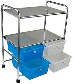 Mind Reader All Purpose Utility Cart with Handles and 4 Stor