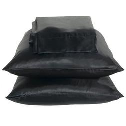 2 Piece Queen Size Solid BLACK SATIN Pillow Cases Silky Smoo