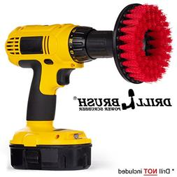 Red Drill Brush Heavy Duty Cleaning Brush with Stiff Bristle