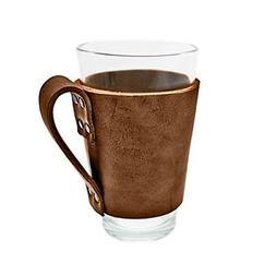 Rustic Leather Pint Sleeve with Handle Handmade by Hide & Dr