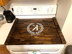 Rustic Stove Cover, Wood Tray For Stove, Personalized Stove