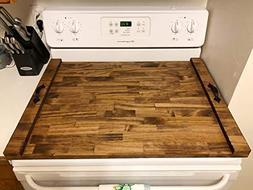 Rustic Stove Top Cover, Wooden Tray For Stove, Stove Top Tra
