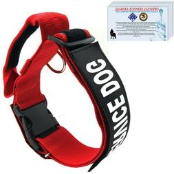 SERVICE DOG Collar Harness with Handle and Reflective Patche