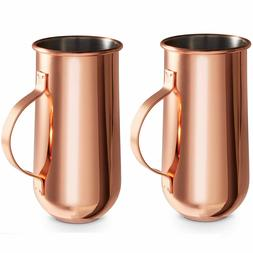 VonShef Set of 2 Copper Mugs with Handle - 16oz - Hot and Co