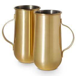 VonShef Set of 2 Gold Mugs with Handle - 16oz - Hot and Cold