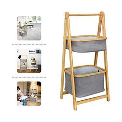 Shelving Unit Organizer Bamboo Handle Collapsible Bathroom S