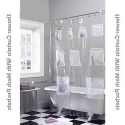 Shower Curtain Vinyl PEVA Liner With Mesh Pockets Quick Dry