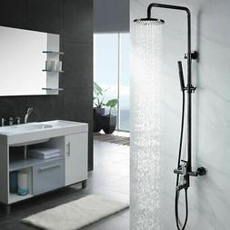 Single Handle Black Exposed Rain Shower System with Tub Spou