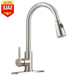 Single Handle High Arc Pull out Brushed Nickel Kitchen Fauce