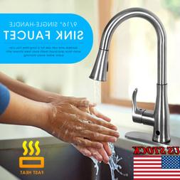 Single Handle Kitchen Faucet with Pull Out Sprayer Brushed M