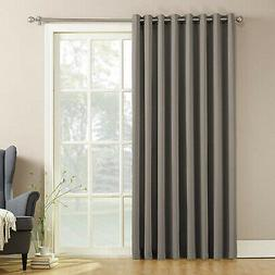 Sliding Patio Door Curtain Panel With Pull Wand 100x84 Gray