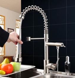 Spring Pull Down Kitchen Faucet Single Handle for Double/Sin