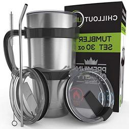 CHILLOUT LIFE Stainless Steel Travel Mug 30oz – 6 Piece Se