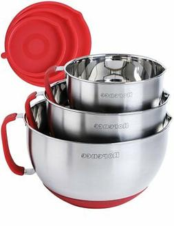 Rorence Stainless Steel Non-Slip Mixing Bowls With Pour Spou