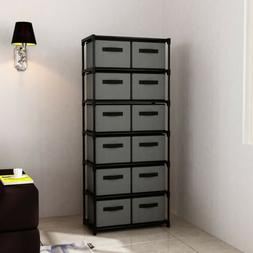 Storage Shelf Unit with 6 Shelves and 12 Removable Non-woven