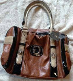 Guess Top Zipper Closure Handle Purse Warm Brown, Beige with
