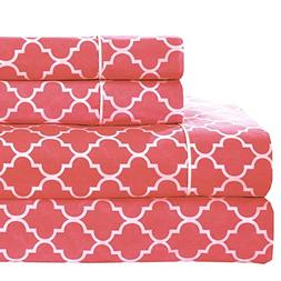 Twin Extra-Long size- Coral Printed Meridian 100% Cotton Per