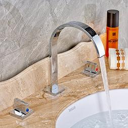 Rozin Two Handles Bath Mixer Taps Widespread Waterfall Bathr