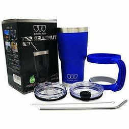 Vacuum Insulated Tumbler With Handle Straw Travel Mug Stainl