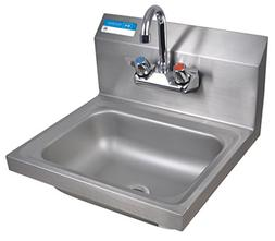 "BK Resources Wall Mount Stainless Steel Hand Sink with 4"" On"