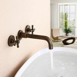 Wall Mounted Antique Brass Bathroom Widespread Sink Faucet w