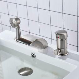 Waterfall Single Handle Bathtub Filler With Hand Sprayer Mix