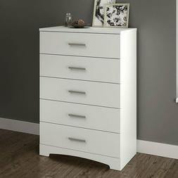 White 5-Drawer Bedroom Chest with Brushed Nickel Finish Hand