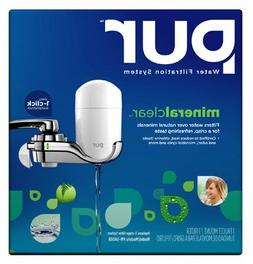 PUR White & Chrome Vertical Faucet Mount & 1 Mineral, White/