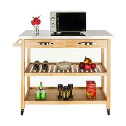 Wood Color Kitchen Cart Removable With Stainless Table Top 2